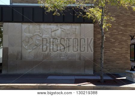 PLAINFIELD, ILLINOIS / UNITED STATES - SEPTEMBER 20, 2015: A bas-relief sculpture,