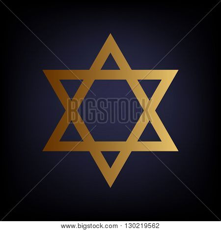 Star. Shield Magen David. Symbol of Israel. Golden style icon on dark blue background.