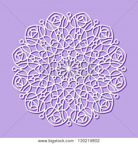 Beautiful mandala lace ornament on purple background for cards or invitations. Mandala round element. Vector illustration