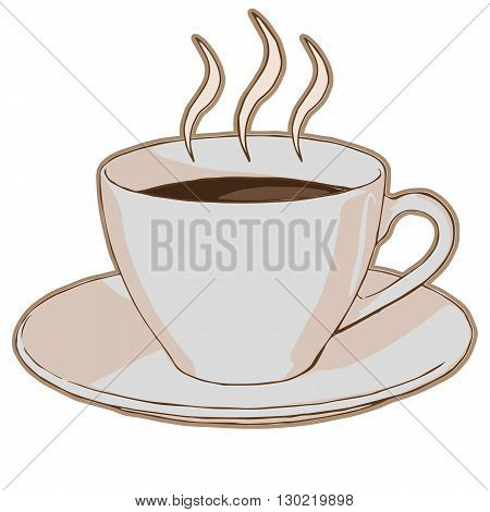 hot coffee in a cup on a saucer