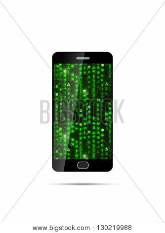 Realistic black smartphone with green matrix symbols on screen isolated on white