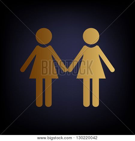 Lesbian family sign. Golden style icon on dark blue background.