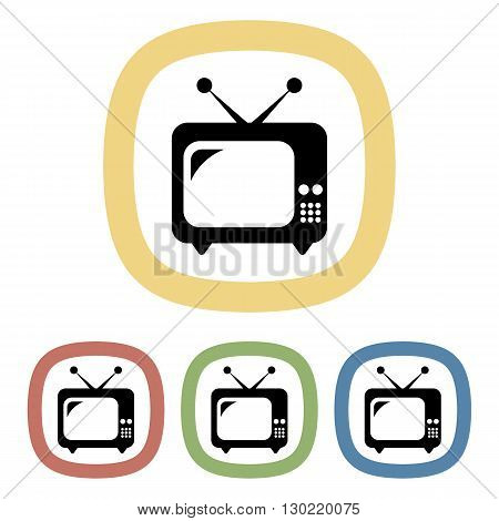 Vector single tv colorful icon an a purple background