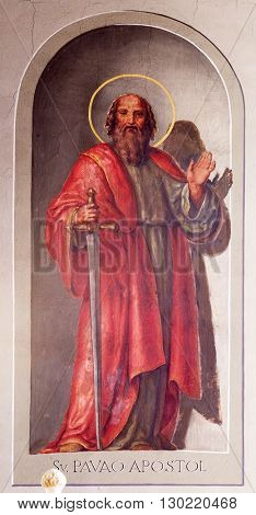 ZAGREB, CROATIA - SEPTEMBER 14: Saint Paul the Apostle, fresco in the Basilica of the Sacred Heart of Jesus in Zagreb, Croatia on September 14, 2015.