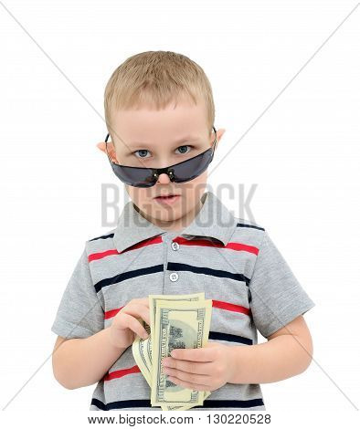 Child counts the money on a white background