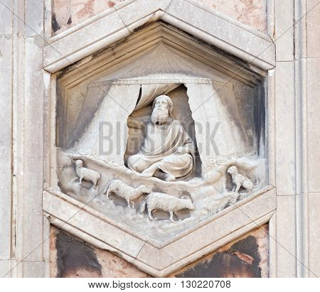 FLORENCE, ITALY - JUNE 05: Jabal by Nino Pisano, 1334-36., Relief on Giotto Campanile of Cattedrale di Santa Maria del Fiore (Cathedral of Saint Mary of the Flower), Florence, Italy on June 05, 2015