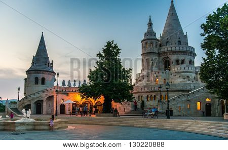 BUDAPEST, HUNGARY- JULY 07: Fishermans Bastion yard in evening, jn July 07 in 2015 Budapest, Hungary