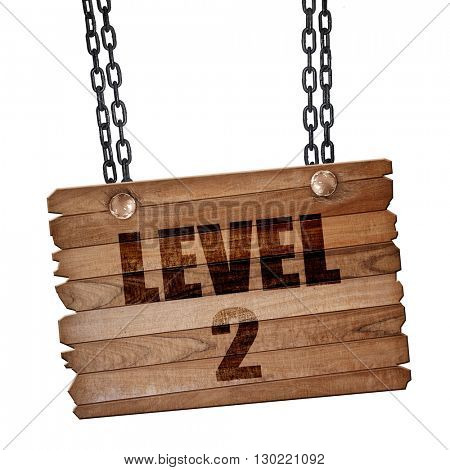 level 2, 3D rendering, wooden board on a grunge chain