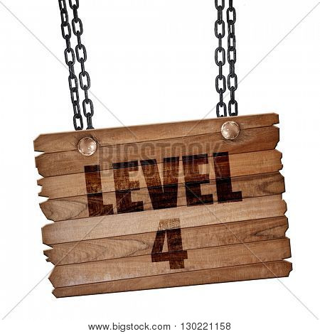 level 4, 3D rendering, wooden board on a grunge chain