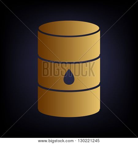 Oil barrel sign. Golden style icon on dark blue background.
