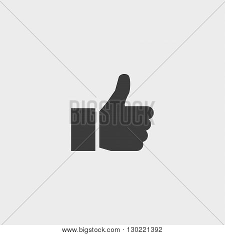 Thumbs up icon in black color. Vector illustration eps10