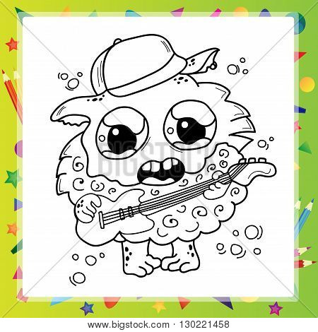 Black and White Cartoon Monster for Coloring Book