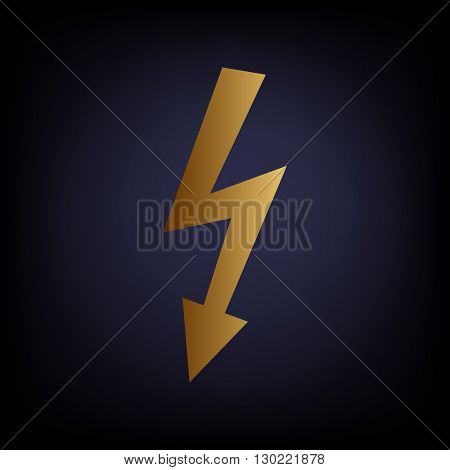High voltage danger sign. Golden style icon on dark blue background.