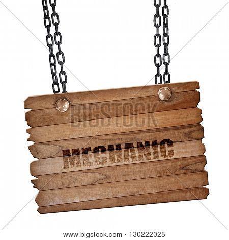 mechanic, 3D rendering, wooden board on a grunge chain