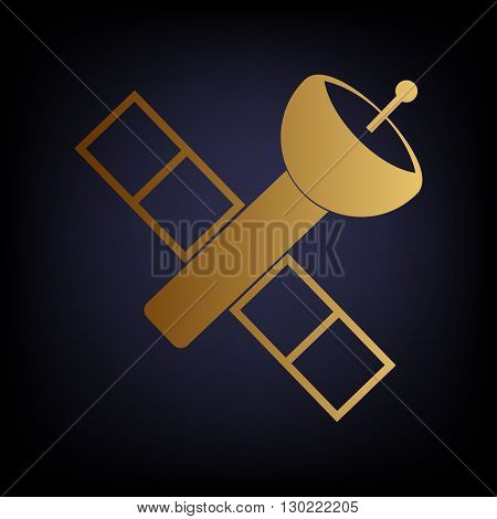 Satellite sign. Golden style icon on dark blue background.