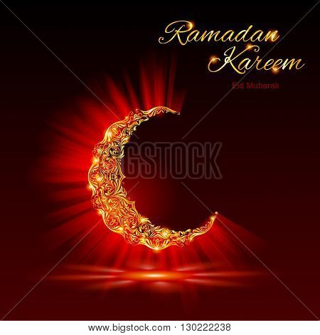 Glowing ornate crescent with bright flare and radiance in dark red and golden shades. Greeting card of holy Muslim month Ramadan