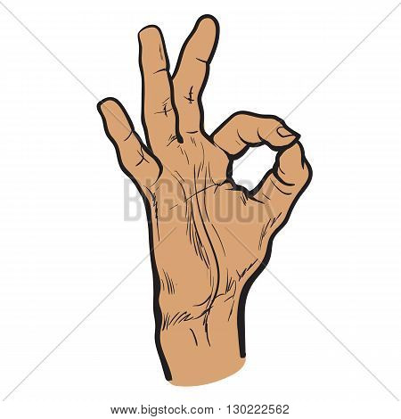 Human hand showing OK, fingers showing symbol of a great state, isolated mans hand on a white background sketch style hand-drawn OK