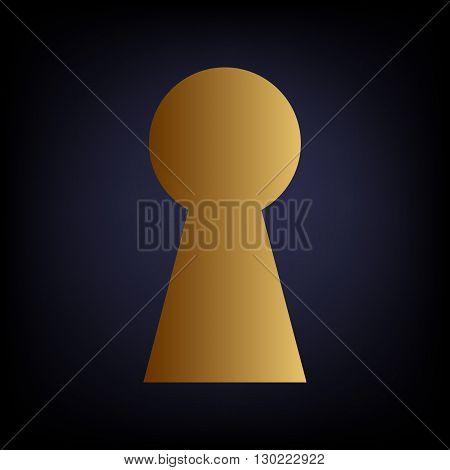 Keyhole sign. Golden style icon on dark blue background.
