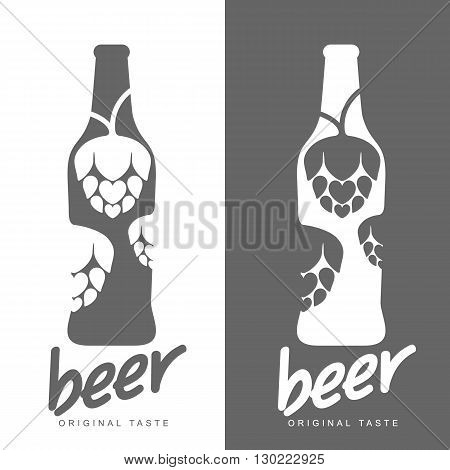 Beer icons, vector illustration simple plain logo, beer bottle with hop logo black and white, simple concept of beer alcoholic drink with a bottle logo