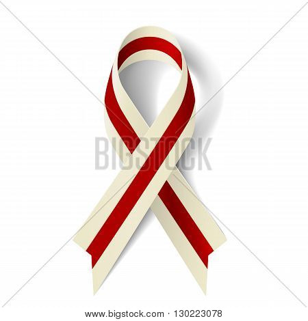 Burgundy and ivory ribbon as symbol of Head and Neck Cancer