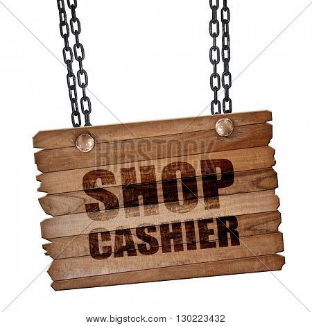 shop cashier, 3D rendering, wooden board on a grunge chain