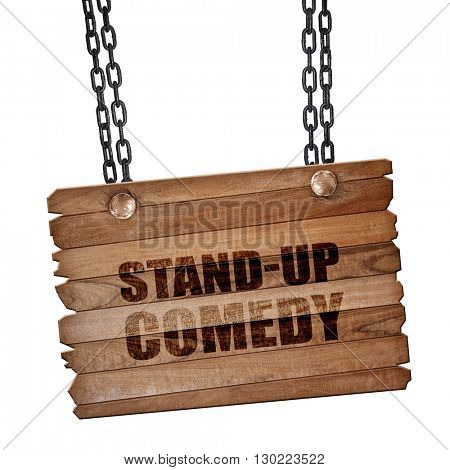 stand-up comedy, 3D rendering, wooden board on a grunge chain
