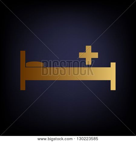Hospital sign. Golden style icon on dark blue background.