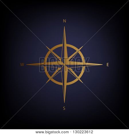 Wind rose sign. Golden style icon on dark blue background.