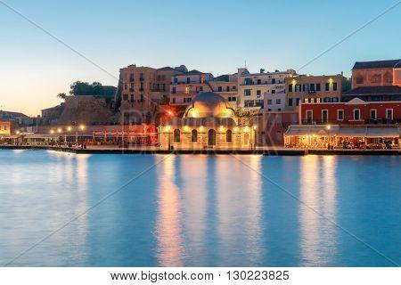 Embankment and the mosque Kucuk Hasan Pasha at sunrise Chania, Crete, Greece.