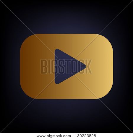 Play sign. Golden style icon on dark blue background.