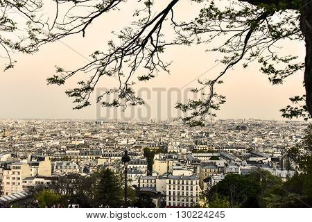 View of the city of Paris from the top of Montmartre