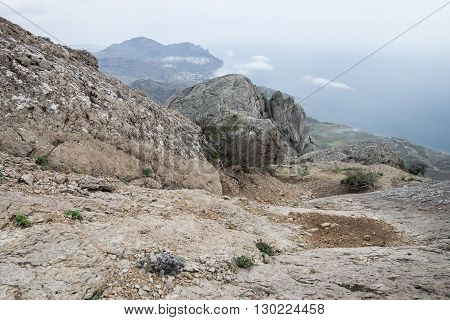 Mystical Misty Mountain Landscape Rocky Peak