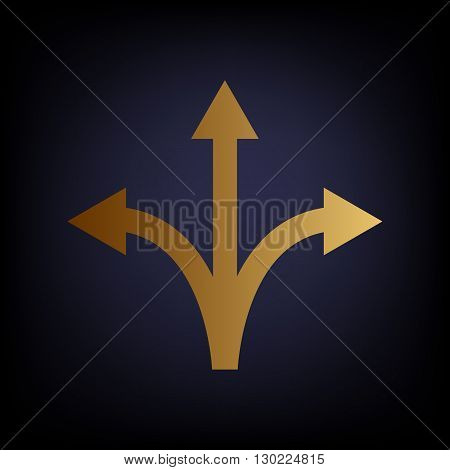 Three-way direction arrow sign. Golden style icon on dark blue background.