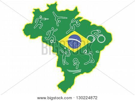 summer olympics in Brazil on the white background