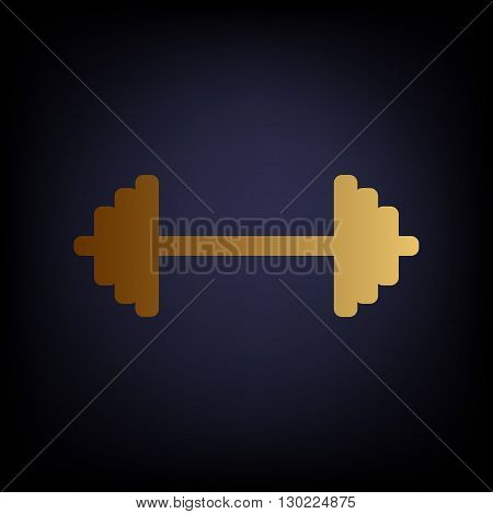 Dumbbell weights sign. Golden style icon on dark blue background.