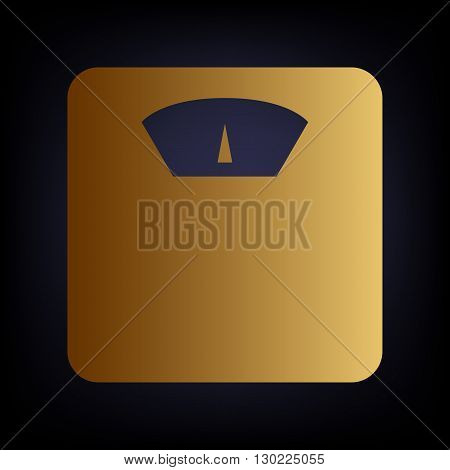 Bathroom scale sign. Golden style icon on dark blue background.
