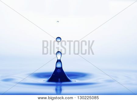 water drops and waves afloat on white background