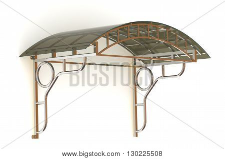 Canopy on the white wall. Isolated. 3D Illustration