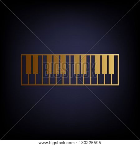 Piano Keyboard sign. Golden style icon on dark blue background.