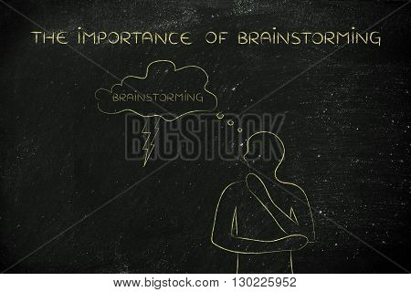 Man With Lightning Bolt Out Of Thought Bubble, The Importance Of Brainstorming