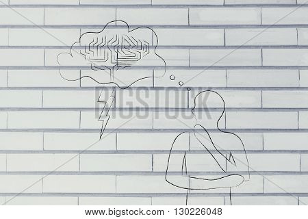 Man With Stormy Brain Thought Bubble, Concept Of Brainstorming