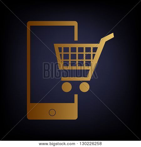 Shopping on smart phone sign. Golden style icon on dark blue background.