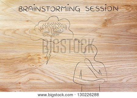 Man With Stormy Brain Thought Bubble, Brainstorming Session