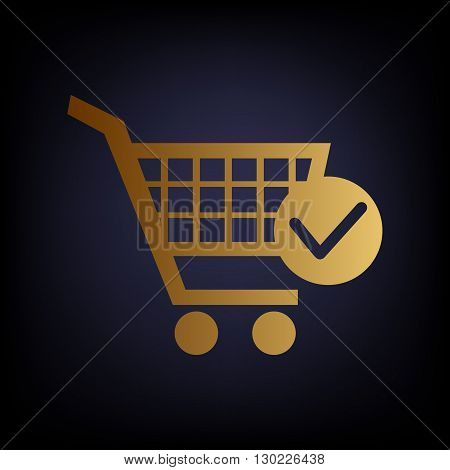 Shopping Cart and Check Mark Icon. Golden style icon on dark blue background.