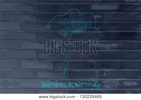 Stormy Cloud With Brain And Bolt, Caption Brainstorming