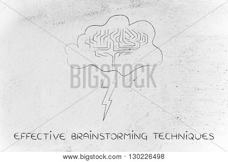 Stormy Cloud With Brain And Bolt, Effective Brainstorming Techniques
