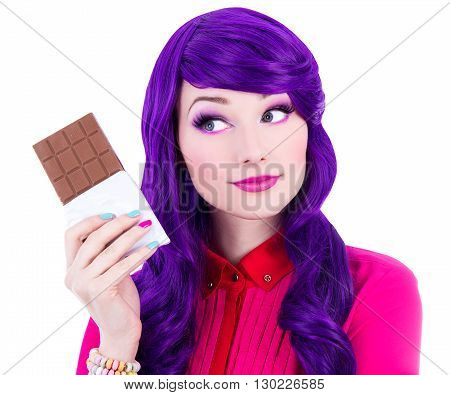 Beautiful Woman With Purple Hair Holding Chocolate And Thinking About Something Isolated On White