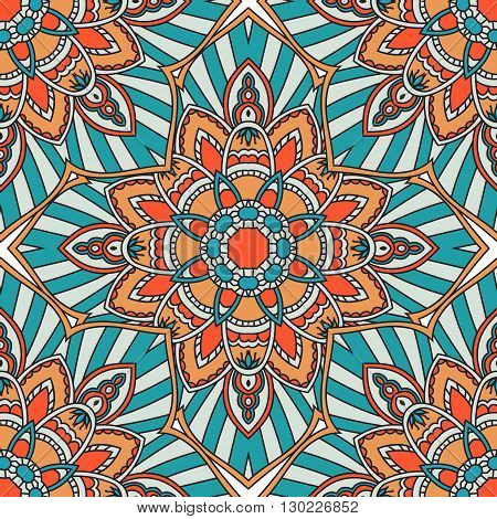 Mandala vector seamless pattern. Vintage decorative elements. Hand drawn tiles background. Islam and Arabic and Indian and turkish and pakistan and chinese and ottoman motifs.
