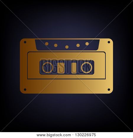Cassette icon, audio tape sign. Golden style icon on dark blue background.