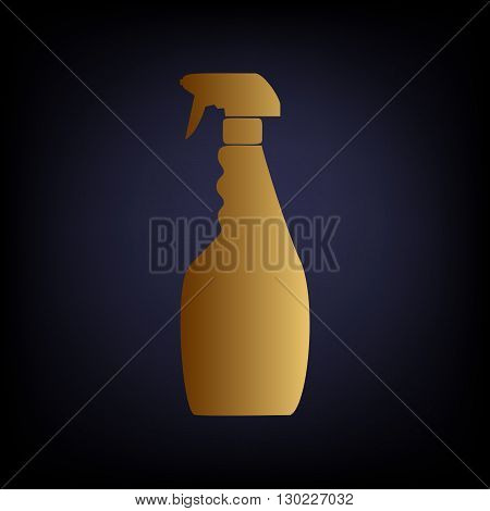 Plastic bottle for cleaning. Golden style icon on dark blue background.